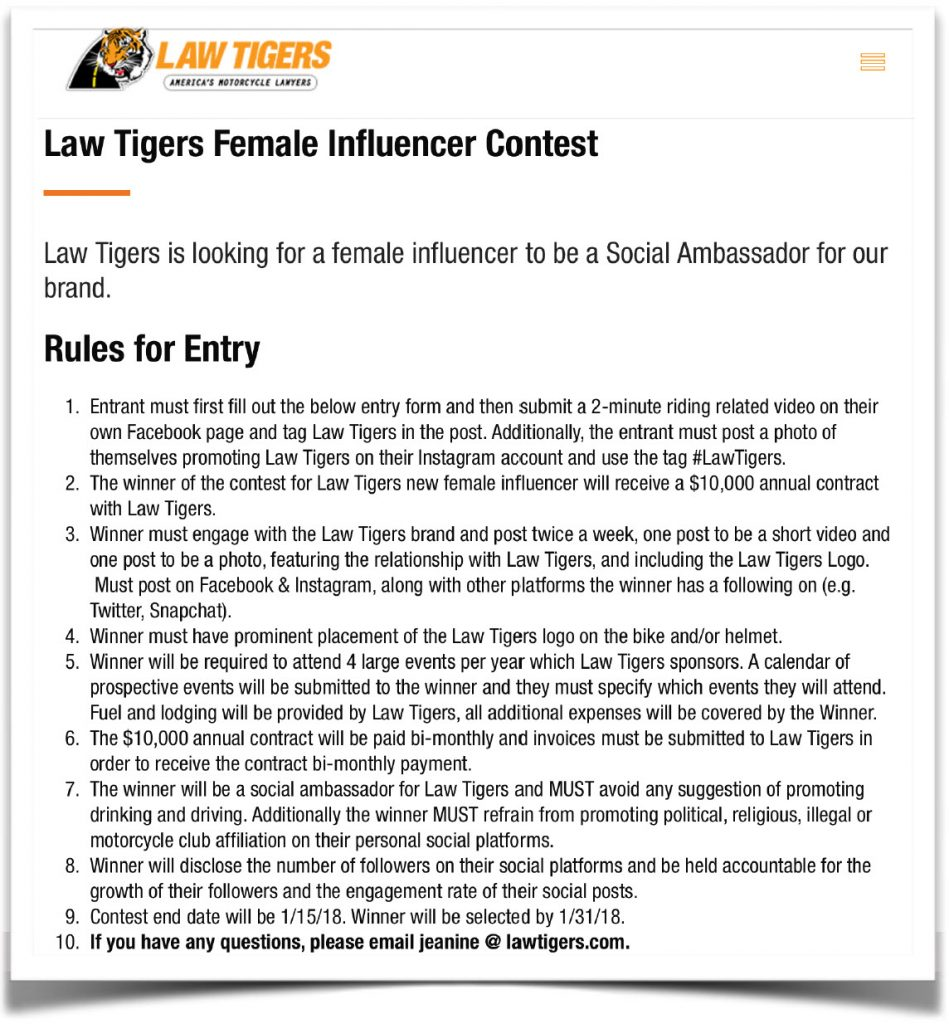 Law Tigers Contest Post Rules